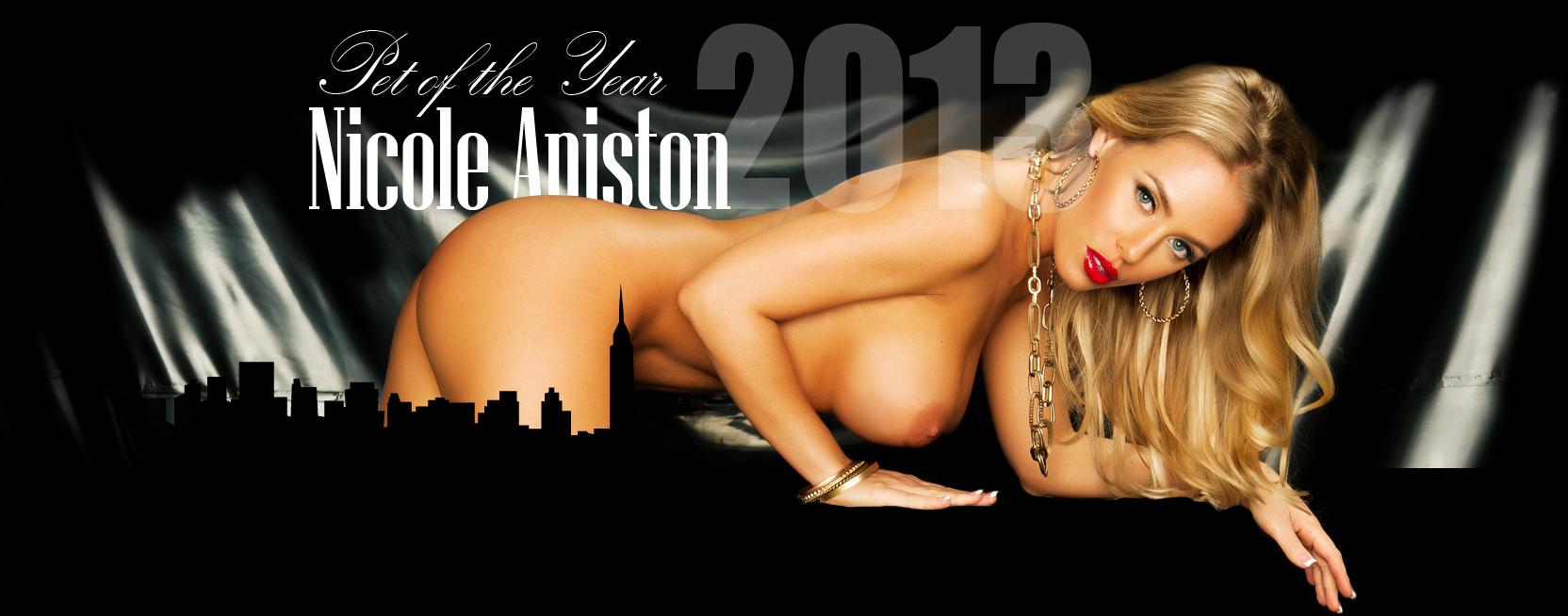 Wallpaper of Penthouse Pet of the year Nicole Aniston zilla over the city with big boobs